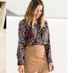 New Gibson sunset cheetah print blouse